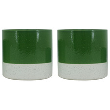 Dark Green Sandy Ceramic Planter Pot