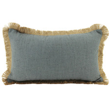 Dark Grey Xander Fringed Lumbar Cushion