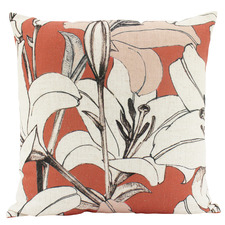 Burnt Orange Lilies Linen-Blend Cushion