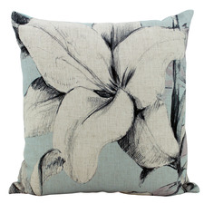 Sky Blue Lilies Linen-Blend Cushion