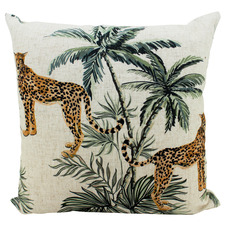 Organic Cheetah Duo Linen-Blend Cushion