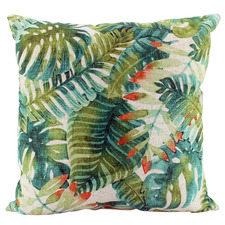 Tropical Virid Linen-Blend Cushion