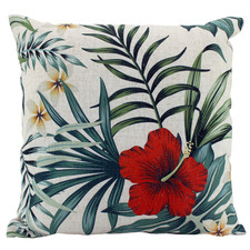 Red Hibiscus Linen-Blend Cushion