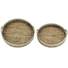 2 Piece Shayla Water Hyacinth Round Serving Trays