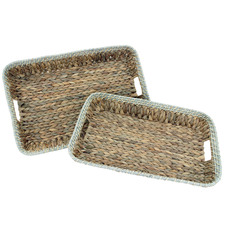 2 Piece Shayla Water Hyacinth Serving Trays
