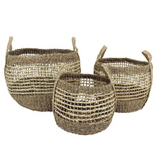 3 Piece Natural Polynesian Seagrass Storage Baskets