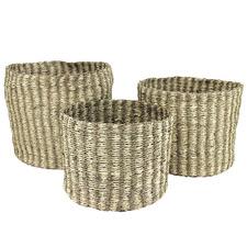 3 Piece Natural Hawaiian Seagrass Storage Baskets