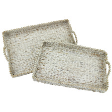2 Piece Whitewash Water Hyacinth Serving Trays