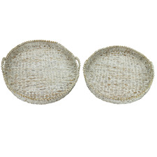 2 Piece Whitewash Water Hyacinth Round Serving Trays