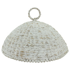 Whitewash Hand-Woven Water Hyacinth Food Plate Cover