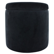 Posh Round Velvet Storage Ottoman