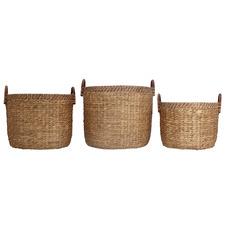 3 Piece Baya Water Hyacinth & Rattan Storage Baskets
