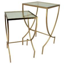 2 Piece Zaha Glass-Top Nesting Side Tables