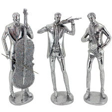 3 Piece Silver Music Men Statue Set