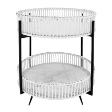Kelly 2 Tier Rattan Tray Top Side Table