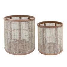 2 Piece Staci Linen & Bamboo Planter Set