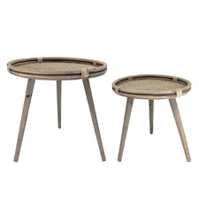 2 Piece Henri Rattan Tray-Top Side Table Set