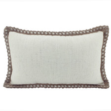Trimmed Border Rectangular Linen-Blend Cushion