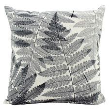 Black & White Ferns Linen-Blend Cushion