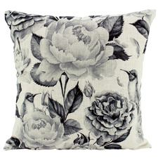 Black & White Peonies Linen-Blend Cushion