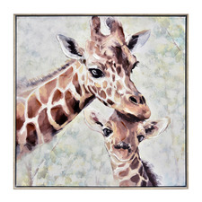 Giraffe Love Framed Canvas Wall Art