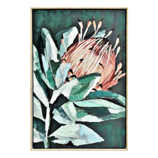 Leafy Protea Framed Canvas Wall Art