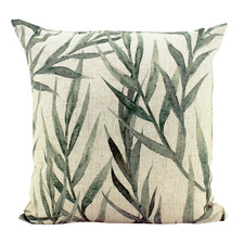Faded Greenery Linen-Blend Cushion