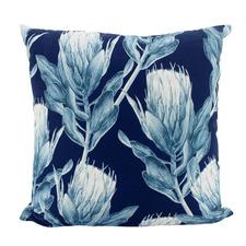 Navy Banksia Velvet Cushion