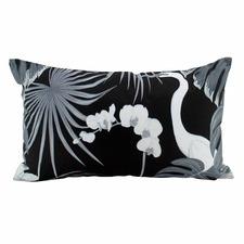 Black & White Stork Lumbar Outdoor Cushion