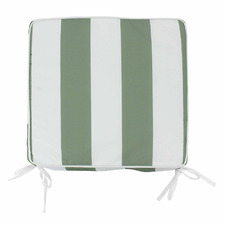 Olive & White Striped Outdoor Chair Pad
