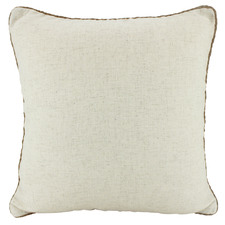 Rope Trimmed Square Linen Cushion