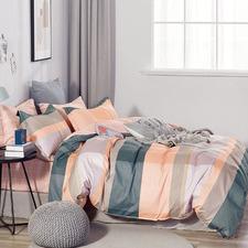 Peach Gia Cotton Reversible Quilt Cover Set