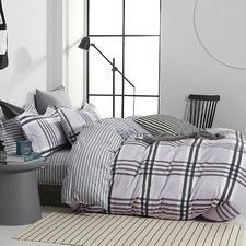 Grey Stanton Cotton Quilt Cover Set