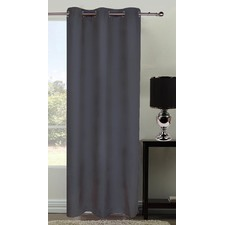 Grey Microfibre Eyelet Curtain Set