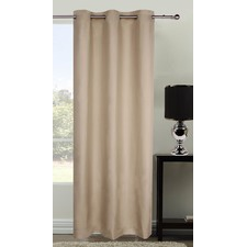 Latte Microfibre Eyelet Curtain Set