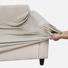 Sand Faux Linen Stretch Sofa Cover