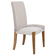 Sand Faux Linen Stretch Dining Room Chair Cover