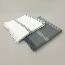 Grey & White Stripe Turkish Towel Pack