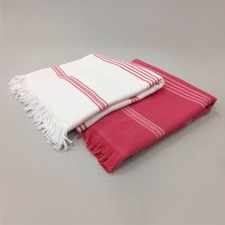 Pink & White Stripe Turkish Towel Pack