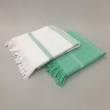 Turquoise & White Stripe Turkish Towel Pack