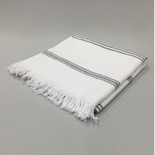 White & Grey Stripe Cotton Turkish Towel