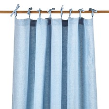 Blue Vintage Wash Pure Linen Curtain Set