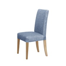 Navy Faux Linen Stretch Dining Room Chair Cover