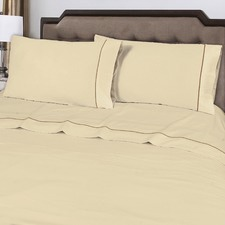 Ivory 375TC Embroidered Cotton Sheet Set