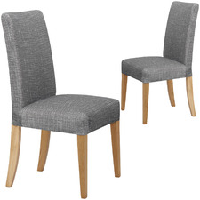 Grey Faux Linen Stretch Dining Room Chair Cover