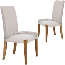 Sand Faux Linen Stretch Dining Room Chair Cover (Set of 2)