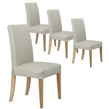 Sand Faux Linen Stretch Dining Room Chair Cover (Set of 4)
