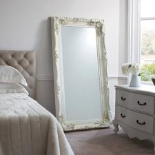 Carved Louis Leaner Mirror in Matt Cream