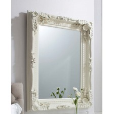Carved Louis Mirror in Matt Cream