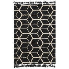 Black Geometrisk Arabiska Hand-Knotted Pure New Wool Rug